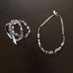 WHBM Crystal necklace & bracelet set